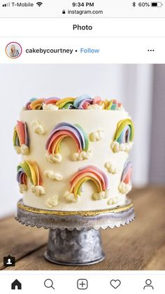 DIY Birthday Cakes - Buttercream Rainbow Cake - How To Make A Birthday Cake With Step by Step Tutorial - Bake Homemade Cakes for Special Occasions and Birthdays With These Best Birthday Cake Recipes - Best Birthday Cake Recipe, Diy Birthday Cake, Happy Birthday, Little Girl Birthday Cakes, Buttercream Birthday Cake, Birthday Cake Designs, Homemade Birthday Decorations, Birthday Cake Decorating, Birthday Ideas