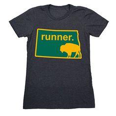 Womens Everyday Runners Tee North Dakota Runner - Show off your pride for North Dakota with this great North Dakota Runner State Tee.