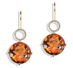 Twinkle Twinkle by Jane Taylor - diamond frame drop earrings with citrine in yellow gold