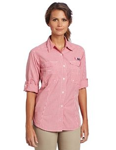 Columbia Women's Super Bonehead Long Sleeve Shirt, Medium, Afterglow, Gingham by Columbia. $32.99. The print plaid version of our cool, protective Bonehead, constructed of soft cotton that's garment washed for lived-in comfort, with fly box pockets and a rod holder loop at the left chest to meet the needs of lady anglers.