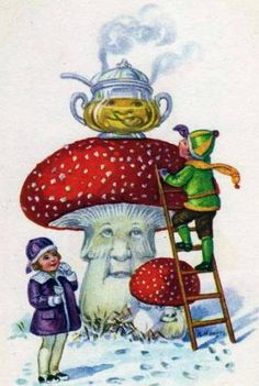 New Year Card Mushroom Men Serve Children Hot by KatyDidsCards Vintage Christmas Cards, Vintage Cards, Vintage Postcards, Christmas Fun, Mushroom Decor, Mushroom Art, Scarecrow Pictures, Xmas Elf, Baby Clip Art