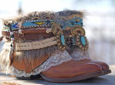 Upcycled reworked cowboy boots from thelookfactory on etsy boho hippi, deri Botas Boho, Festival Boots, Gypsy Boots, Boot Bracelet, Boot Jewelry, Boho Shoes, Boot Bling, Boot Cuffs, Mode Outfits