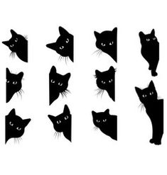 Set black cats looking out corner Royalty Free Vector Image Black Cat Drawing, Black Cat Art, Black Cats, Drawing Art, Black Cat Illustration, Black Cat Silhouette, Black Cat Tattoos, Cat Tattoo Designs, Cat Signs