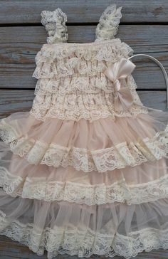 Rustic Flower Girl Dress -Lace Pettidress/Rustic Flower Girl/Country Flower Girl Dress Cream/Wheat Cream/Country Wedding-Vintage Wedding Bow...