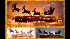 DIY Santa en Trineo, SILUETAS luminosas. NAVIDAD - RENOS VOLADORES. Papá...