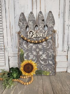 (1) Sunflower Fall Decor, Blessed, Thanksgiving decorations, wooden bead w – The White Birch Studio