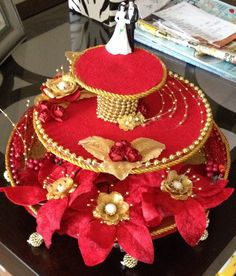 Engagement ring platter aarti thali pinterest for Aarti dish decoration