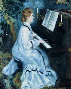 Auguste Renoir, Woman at the Piano Music Painting, Light Painting, Figure Painting, Art Music, Pierre Auguste Renoir, Piano Girl, Renoir Paintings, Yoo Ah In, Classic Paintings