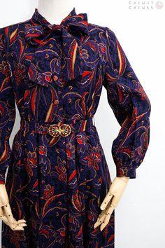 Vintage 60s Dress Handmade Vintage Dress Navy Blue Wool