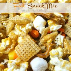 Fall Snack Mix! secret ingredient of pouring melted pumpkin kisses over the mix... that sounds like a PERFECT fall snack mix! i cant wait to try this!