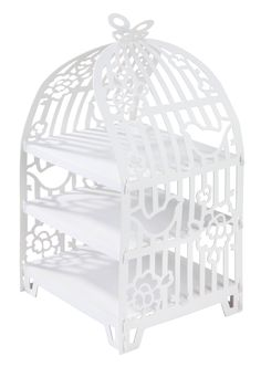 White bird cage cake stand from the something in the air range by Talking Tables Cupcake Stand Wedding, Wedding Cake Stands, Wedding Cupcakes, Cardboard Cupcake Stand, Cupcake Boxes, Bird Cage Cake, Tea Party Desserts, Patisserie Cake, Bird Cage Centerpiece