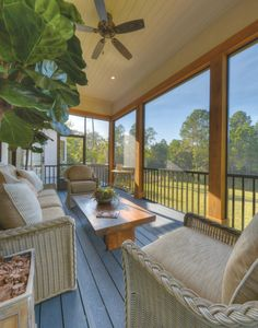 Screened in Porch Ideas Porch Beach with Beige Ceiling Fan Indoor Outdoor