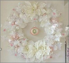 Softly enchanting pink accents with White Poinsettias... dreamy!  #EnchantedRoseStudio