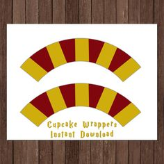 afe67e1bd20b2 Harry Potter Birthday Party Cupcake Wrappers Decoration Gryffindor Instant  Download Gold Birthday