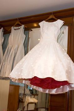 Burgundy Petticoat. Oh my god. I love this idea. Check out the subtle polka dots on this dress as well. SO cute!
