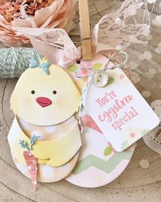 Eggstra Special Tag by Melissa Phillips for Papertrey Ink (February Gift Card Boxes, Card Tags, Gift Tags, Money Cards, 3d Cards, Embossed Cards, Beautiful Handmade Cards, Birthday Balloons, Spring Crafts
