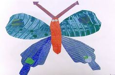 Eric Carle inspired Painted Butterfly from deep space sparkle  Students paint one day, then they can share painted papers to create their own butterfly
