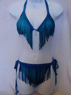 Fringed Sexy Buckskin Bikini Leather FESTIVAL Swimsuit Turquoise-Cobalt Deerskin Handmade by Debbie Leather