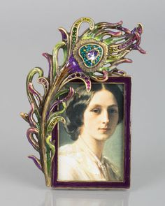 """These fascinate me. So much detail &'beauty placed in such a relatively small piece. Even better, I love how they leave no area out-even the props are beautiful enough to showcase. This is how a true passionate artisan works, Harper 2"""" x 3"""" Peacock Frame by Jay Strongwater at Horchow."""