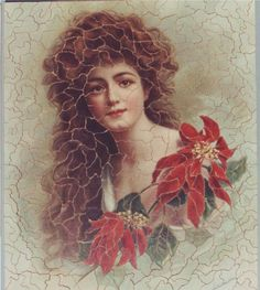 The first jigsaw puzzles were produced in the late 1700s by mapmakers mounting maps on hardwood and cutting pieces out with a maquetry saw. But the jigsaw's heyday was around 1900, when puzzle makers began to experiment with smaller pieces, often using people as their subject. This one is called Poinsettia and features at the end of the novel to suggest a resigned calm at Summerhayes. Puzzle Maker, Using People, Color Lines, Poinsettia, Gorgeous Women, Jigsaw Puzzles, Experiment, Maps, Artwork
