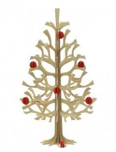 árbol de navidad en miniatura con decoraciones de papel rojo