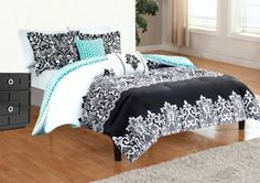 5pc Adorable Teen Girl Black Teal Damask Full Queen Comforter Set
