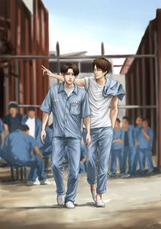 Eren and levi as prison badasses // i wonder how they got in there though ?