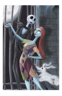 Jack Sally and Zero - Nightmare Before Christmas by DenaeFrazierStudios