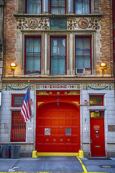 New York City Fire Station Engine East Street, Flatiron District, Midtown South, Manhattan, NYC photo by Garry Gay Fire Dept, Fire Department, Ambulance, American Firefighter, Fire Hall, Fire Equipment, Model Train Layouts, Fire Apparatus, Police