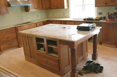 Idea for kitchen island... Baluster legs