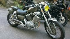 My first motorbike, Yamaha Virago 535 custom. I love it but it really needs to be painted, light blue