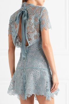 Sky-blue guipure lace Tie and zip fastening at back 100% polyester Hand wash Designer color: Icy Blue