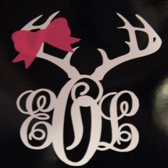 Antler Monogram Car Decal by treasures638 on Etsy, $6.95  Birthday gift for Ashley