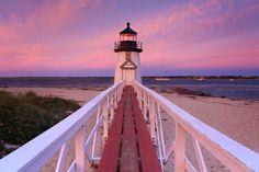 Metal Print, Brant Point Lighthouse, Photography, Cape Cod Artwork, Large Metal Wall Art, Nantucket Photo Beach Sunset Pink Purple White