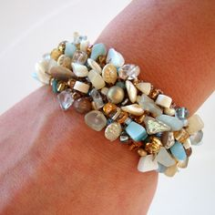 Beach Lover Bracelet SeaShell Jewelry Handmade Jewelry Love wearing seashell jewelry with blue jeans
