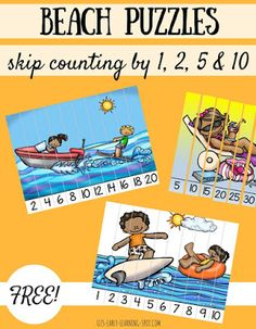 Skip Counting Beach Puzzles  Here are 8 free skip counting puzzles with a beach…