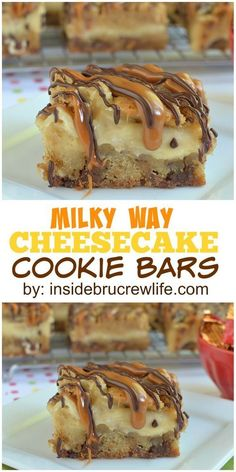 These cookie bars are made with Milky Way candy bars and filled with cheesecake…. These cookie bars are made with Milky Way candy bars and filled with cheesecake. They are seriously amazing! Cheesecake Cookies, Cheesecake Recipes, Cookie Recipes, Dessert Recipes, Caramel Cheesecake, Bar Recipes, Brownie Recipes, Recipes Dinner, Cocktail Recipes