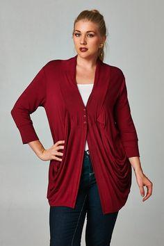 plus size three button 3/4 sleeve cardigan burgundy #plussizetops #plussizecardigan #plussizefashion