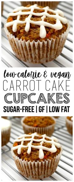 Vegan Carrot Cake Cupcakes (Sugar-Free + Low-Calorie + Gluten-Free) - These Vegan Carrot Cake Cupcakes are AMAZING and so easy to make! They're also low-fat, oil-free, sugar-free, gluten-free optional, dairy-free & low-c. Healthy Cupcakes, Healthy Carrot Cakes, Carrot Cake Cupcakes, Cupcake Cakes, Fat Free Carrot Cake Recipe, Gluten Free Vegan Cupcakes, Low Calorie Cupcakes, Sugar Free Cupcakes, Vegan Sweets