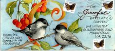 Deborah M. Russell, artist. A contest promoting mail art and calligraphy. watercolor painting