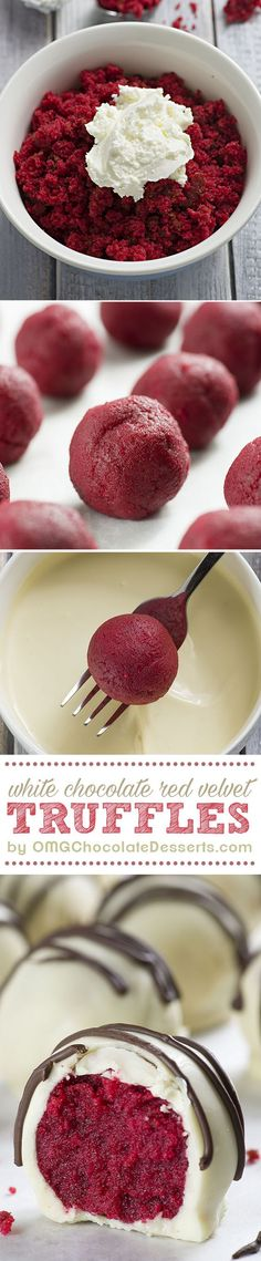 Red Velvet Truffles are a must make Valentine's Day treat. Delicious red velvet cake balls covered with white chocolate. So easy and oh so yummy!!! OMGchocolateDesse...