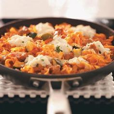 Favorite Skillet Lasagna from Lorie Miner, Kamas, Utah - Healthy Cooking magazine Pasta Recipes, Dinner Recipes, Cooking Recipes, Dinner Ideas, Skillet Recipes, Taste Of Home Lasagna Recipe, Healthy Cooking, Healthy Eating, Healthy Food