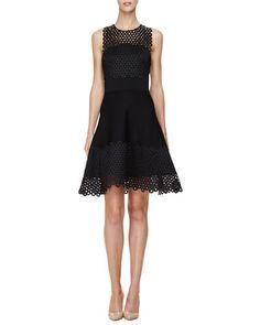 B36FN Lela Rose Sleeveless Circle-Lace Mini Dress, Black
