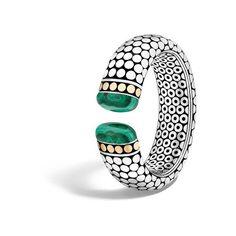 John Hardy Kick Cuff With Malachite (188.355 RUB) ❤ liked on Polyvore featuring jewelry, bracelets, malachite, 18k jewelry, 18k bangle, john hardy bangles, john hardy jewelry and cuff bangle