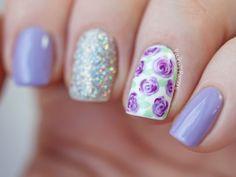 Purple Rose Nail Art