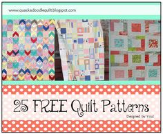 Quackadoodle Quilt: 25 Free Quilt Patterns - Get access to some of the best free patterns out now! This list has everything from baby quilt patterns to zag zags.