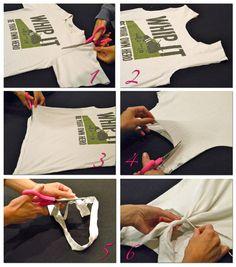 Transform old t-shirts into workout shirts.