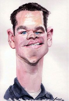 Matt-Damon Caricature by Marvin Lorenz/ Germany