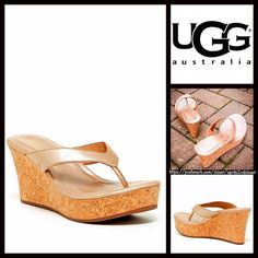 "UGG AUSTRALIA Wedge Metallic Gold Sandals Platform UGG AUSTRALIA Wedge Sandals Platform NEW WITH TAGS   * Slip on thong style straps  * Approx. 3"" heel & 1.25"" front platform.  * Padded footbed w/slight arch support  * Wedge platform cork footbed, metallic gold washed finish upper & rubber soles  * Gold stud hardware; Made with water resistant materials  * Tagged size 9 B (M) Material:Leather upper & lining & rubber sole.  Color:Gold washed  Item:   No Trades ✅ Offers Considered*✅ *Please…"