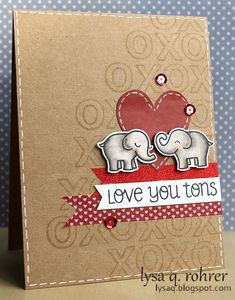 Gotta try this with the hedgehugs stamp + die - Lawn Fawn - Love You Tons + coordinating dies, Quinn's ABCs _ adorable Love U Tons card by Lysa at Lysa's Crafty Creations Card Making Inspiration, Making Ideas, Valentine Love Cards, Lawn Fawn Stamps, Paper Smooches, Scrapbook Cards, Scrapbooking, Copics, Creative Cards